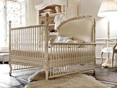 Notte Fatata Nursery. Here's another fabulous luxury nursery meant to grow with baby as the crib can be turned into a big-kid bed and the changing table is a chest or can be turned into a dresser with mirror above.