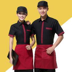summer hotel restaurant waiter short sleeve shirt Cafe Uniform, Waiter Uniform, Hotel Uniform, Restaurant Uniforms, Logo Restaurant, Corporate Uniforms, Work Uniforms, Uniform Design, Apron