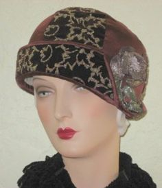 Circa 1920's Velvet Cloche with Beading and Ribbon Embellishment