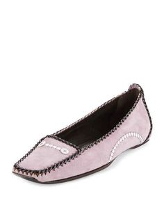 ROGER VIVIER SUEDE MOCCASIN WITH LEATHER TRIM, PINK. #rogervivier #shoes #
