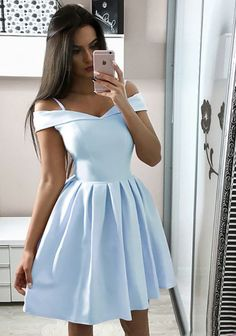 homecoming dresses short Cheap Off The Shoulder Simple V Neck A Line Short Homecoming Dress, This dress could be custom made, there are no extra cost to do custom size a Prom Dress Black, Navy Blue Prom Dresses, Cheap Homecoming Dresses, Light Blue Dresses, Cute Prom Dresses, Junior Dresses, Wedding Dresses, Sexy Dresses, Summer Dresses