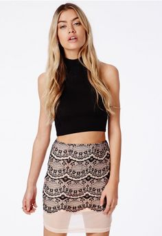 Grete Lace Detail Mini Skirt - Skirt - Mini Skirts - Missguided