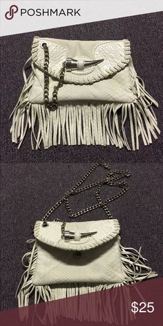 Fringe bag White leather fringe bag, detachable shoulder chain, silver hardwear Bags Shoulder Bags