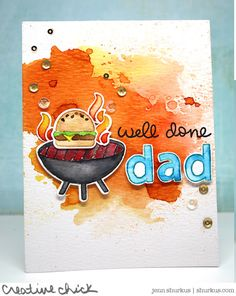 the Lawn Fawn blog: A Fun Let's BBQ Card for Dad's Day by Jenn - like the watercolor background