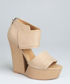 452641be9717 L.A.M.B.   tan canvas and leather cutout  Alfie  wedge sandals   style    319894201