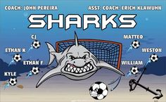 Sharks-46341  digitally printed vinyl soccer sports team banner. Made in the USA and shipped fast by BannersUSA. www.bannersusa.com