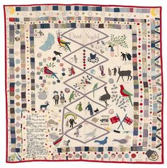 Mary Jane Hannaford born England 1840, arrived Australia 1842, died 1930 Good night quilt 1921 cotton (chintz), wool, silk, beads (embroidery and applique) 199.0 x 205.0 cm Private collection, New South Wales
