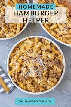 This is the best Homemade Hamburger Helper recipe. Easy, healthy and delicious - this is a quick meal your family will love! Stir in your favorite add ins to this yummy cheeseburger macaroni Healthy Beef Recipes, Clean Eating Recipes, Real Food Recipes, Great Recipes, Yummy Food, Recipes Dinner, Hamburger Helper Recipes, Ground Beef Dishes, Quick Meals
