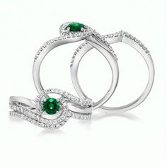 """Glimmer"" 14KW Emerald Wedding Set with Diamonds 