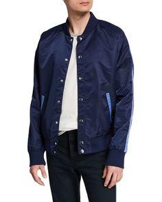 Slate & Stone Men's Nylon Bomber Jacket In Navy Denim Button Up, Button Up Shirts, Nylon Bomber Jacket, Slate Stone, Raincoat, Mens Fashion, Shirt Dress, Navy, Long Sleeve
