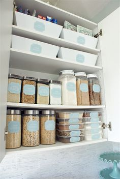 Organized Pantry using uniform containers and baskets. Attach labels to make things quick and easy to find.