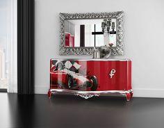 Capri Graffiti sideboard and Mirror Jetclass | Real Furniture luxury furniture and Interior Design