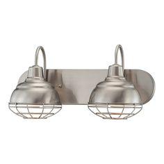 Millennium Lighting 2-Light Neo-Industrial Satin Nickel Standard Bathroom Vanity Light