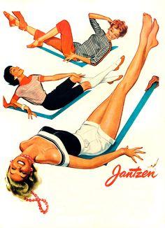 1949 Jantzen Sunclothes Vintage Advertisement Pin Up Art Bedroom Wall Art Womens Fashion Boutique Decor Original Magazine Print Ad Ephemera by RelicEclectic on Etsy