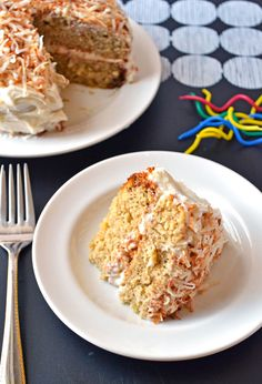 Moist Banana Cake with Coconut Cream Cheese Frosting. Prepare to lick your plate. | The Law Students Wife
