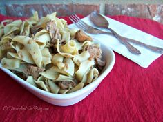 This easy Beef and Noodles recipe is a great crock pot meal on a busy day. Only three ingredients needed.