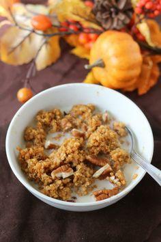 Pumpkin Spice Breakfast Quinoa really good, hearty, needs extra salt, & truvia