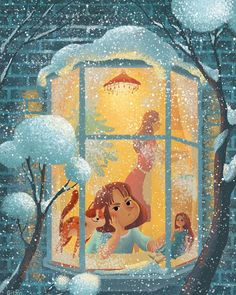 """Children book """"Lost New Year"""" Published by Rosman, 2016 Illustration Inspiration, New Year Illustration, Winter Illustration, Christmas Illustration, Cute Illustration, Graphic Design Illustration, Digital Illustration, Cartoon Drawings, Art Drawings"""