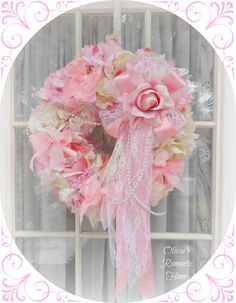 Shabby Chic Tea Time Rose Spring Wreath White Marie Antoinette Floral Lace Tulle Candy Bridal Victorian Spring  SCT. $81.00, via Etsy.