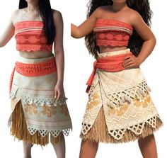 P300 Moana Costume Movie Cosplay Princess Party Corset Skirt Belt Custom Made