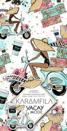 Summer Vacation Clipart by Karamfila on @creativemarket