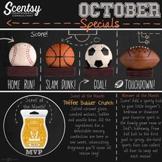 It's time to show me some Team Spirit and we have something for everyone coming up in October! No matter what type of sports fan you are, we have you covered! Choose from 4 different sports warmers - or get the entire collection for a sports theme bedroom or for the gameroom! Message me to pre-order yours! Available October 1st!