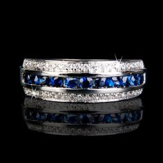 I NEED this!! (maybe for 10th anniversary??) -  Sapphire and Diamond Wedding Band