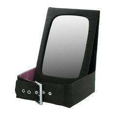 "BETRAKTA Table mirror with storage   - IKEA. Fabric. $9.99. 11x8.25"". Black and pink."