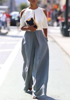 Grey Plain Pleated Palazzo Trousers High Waisted Wide Leg Loose-fitting Fashion Long Pants