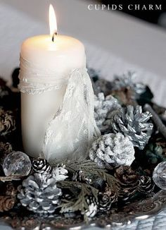 Christmas Candle Decoration Ideas - Add a little blue color, and it's perfect!