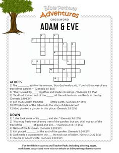 Enjoy our free Bible crossword, Adam & Eve. Fun for kids to print and test their knowledge. Feel free to share with others, too! Adam And Eve Craft, Adam And Eve Bible, Bible Study For Kids, Bible Lessons For Kids, Kids Bible, Bible Art, Bible Scriptures, Bible Quiz, Sunday School Kids