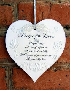 recipe for love Decoupage, Hearts, Pure Products, Christmas Ornaments, Recipe, Holiday Decor, Vintage, Home Decor, Crafts