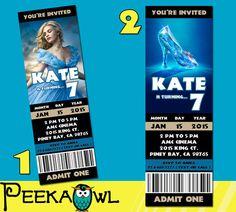 Printable Cinderella 2015 Movie Invitation Ticket by PeekaOwl