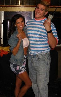 "Zack Morris & Kelly Kapowski Halloween Outfit. OMG love Saved by the Bell! *This is hilarious, and I too, loved SBTB!! Love the giant phone, and the outfits, or ""costumes,"" are dead on!!"