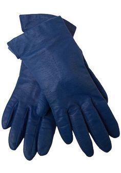 """Vintage Everyday Fancy Leather Gloves circa 1980's by """"Fownes"""" Traditional cobalt blue driving gloves"""