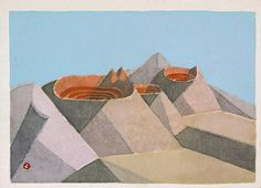 Azechi Umetaro (1902-1999)  Title: Fire Mountain  Artist: Azechi Umetaro