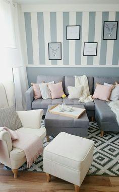 Living room Rose Gray white, salon,  uszak
