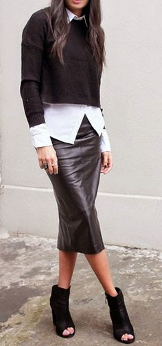 Perfectly layered: cropped jumper, striped shirt, leather skirt, booties. | @andwhatelse