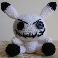 Kitsch Evil Cute Crochet White Bunny Amigurumi by IklesikDolls, £15.00