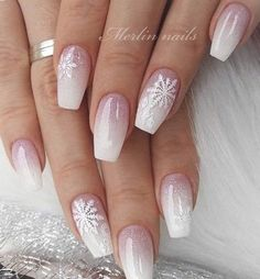 Nail Art Ombré, Nail Art Cute, Winter Nail Art, Winter Nails, Summer Nails, Christmas Nail Art Designs, Winter Nail Designs, Christmas Design, Pink Christmas