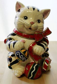 Signature Home Collection Christmas Kitty Cookie Jar Amp Kitty Candy Dish