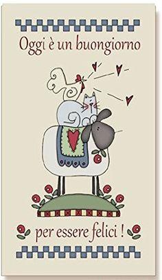 """tavola country in legno di abete con fondo opaco cm 20x36 sp 1,5 """"Oggi è un buon giorno per essere felici!"""", idea regalo, artigianato italiano, made in Italy, con frase scritta, spiritosa, fuori stanza, fuori porta, bomboniere, targa porta, tavola country, quadretto con ferretto, dimensioni"""