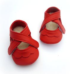 Handmade leather shoes for babies, toddlers and children.  Red leather soft soled baby shoes. via Etsy