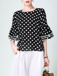 Shop blouses - black h-line bell sleeve polka dots blouse online Blouse Styles, Blouse Designs, Polka Dot Blouse, Polka Dots, Blouse Online, Black Blouse, Corsage, Bell Sleeves, Fashion Dresses