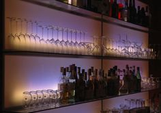 Bar wall using back-lit Acid Etched Glass