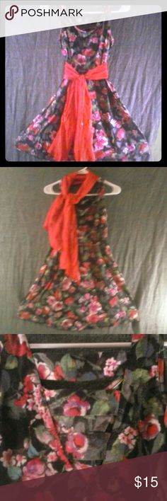 Xhilaration xsmall dress...red sparkly scarf Floral design dress for Xhilaration size extra small. True to size more for someone petite in my opinion. Also included with a red scarf that has a sparkle to it. Wear it anyway you like! Xhilaration Dresses Mini
