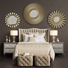 Gold Bedroom Ideas: Glamorous Ideas You'll Adore - Bedroom Ideas - Bedroom Decor Romantic Bedroom Decor, Bedroom Vintage, Modern Bedroom, Cream And Gold Bedroom, Cream Bedrooms, Kid Bedrooms, 3d Max, Home And Deco, Bedroom Sets