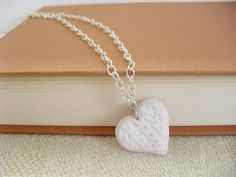 Your place to buy and sell all things handmade Polymer Clay Art, Polymer Clay Jewelry, Knitted Heart, Handmade Jewelry, Jewels, Chain, Elegant, Knitting, Pendant