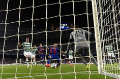 Luis Suarez of Barcelona scores his sides seventh goal  during the UEFA Champions League Group C match between FC Barcelona and Celtic FC at Camp Nou on September 13, 2016 in Barcelona, Catalonia.