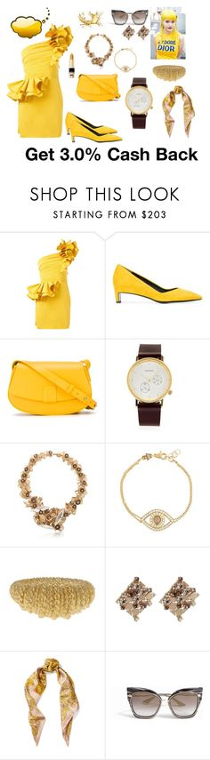 """Rose dress .. 🌹 🌹"" by jamuna-kaalla ❤ liked on Polyvore featuring Dsquared2, Robert Clergerie, Nico Giani, Komono, Heaven Tanudiredja, Netali Nissim, Aurélie Bidermann, Lanvin, Versace and Dita"